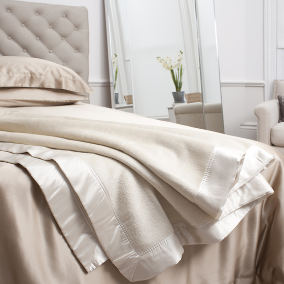 cream silk blanket