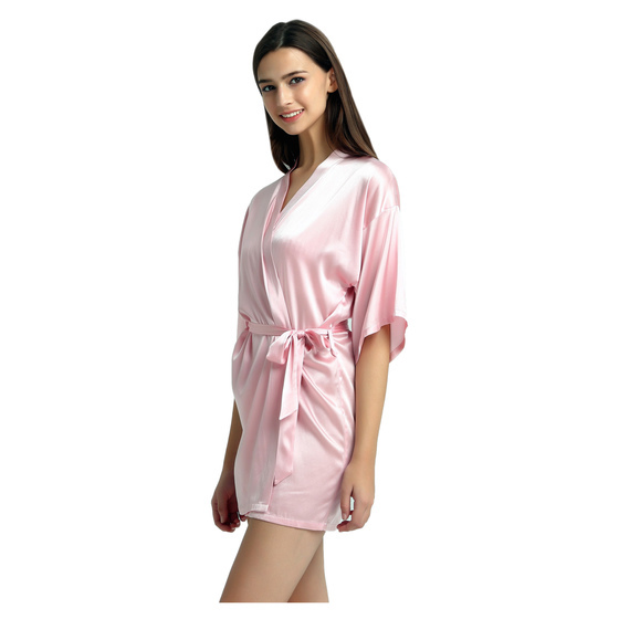 pink silk dressing gown