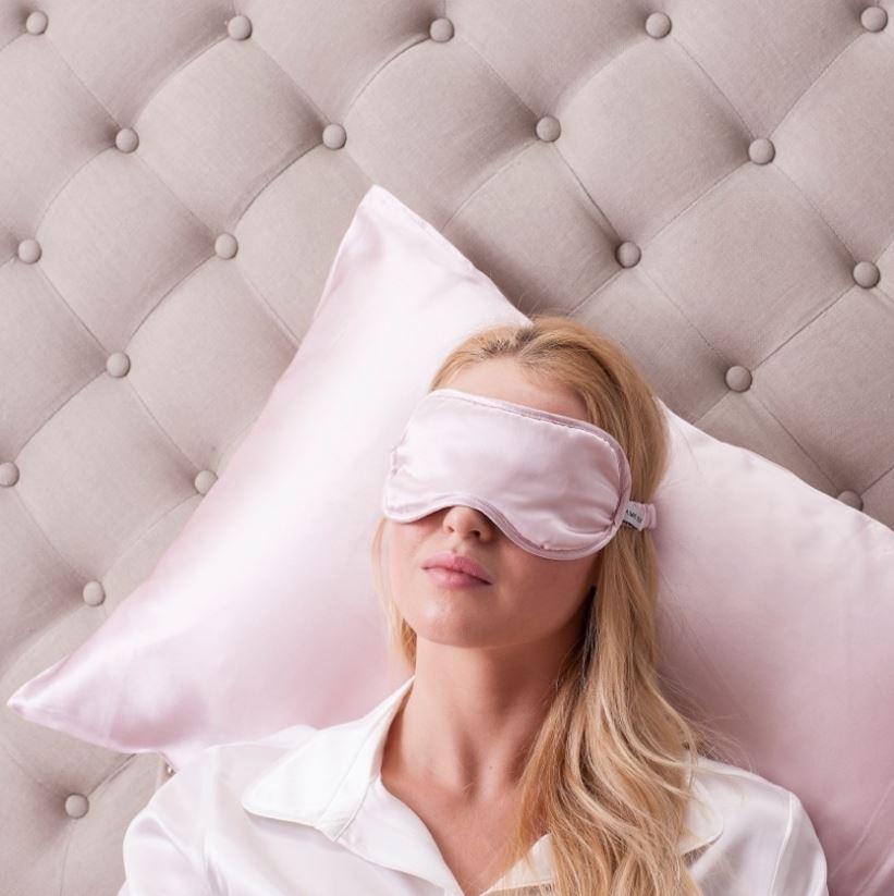 pink silk eye mask