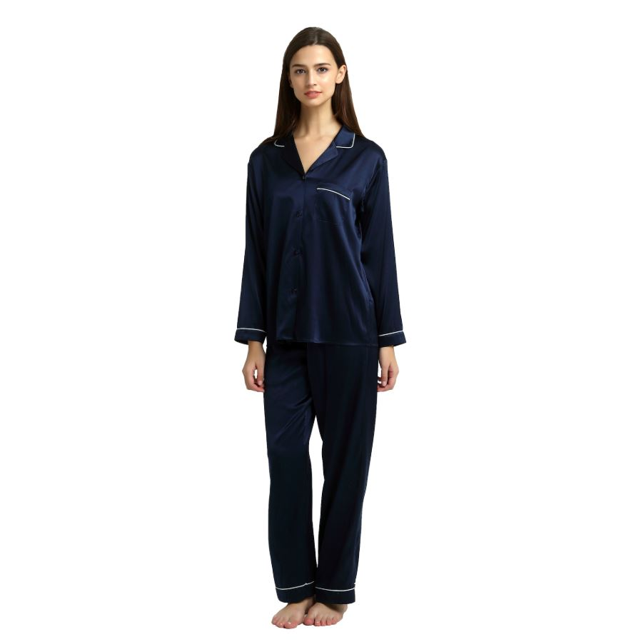 women's navy silk pyjamas