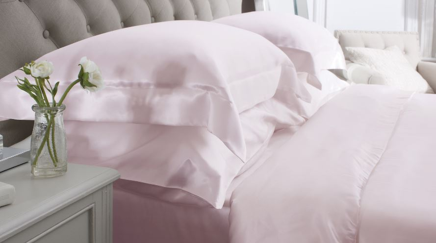 pink silk bedding