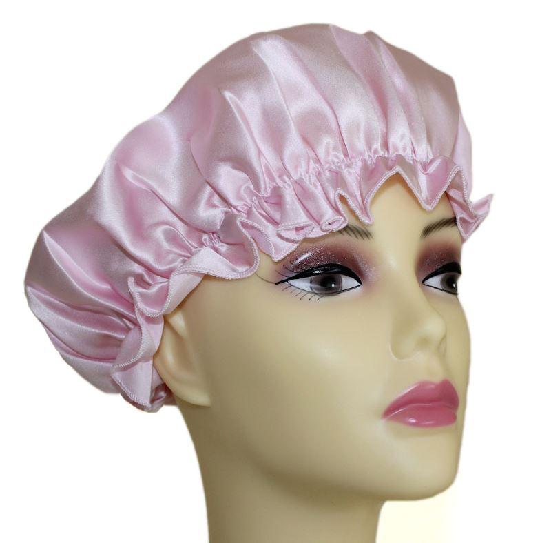 pink silk sleep cap