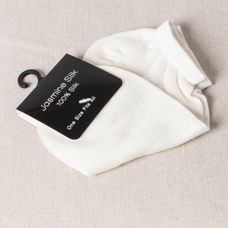 white silk socks