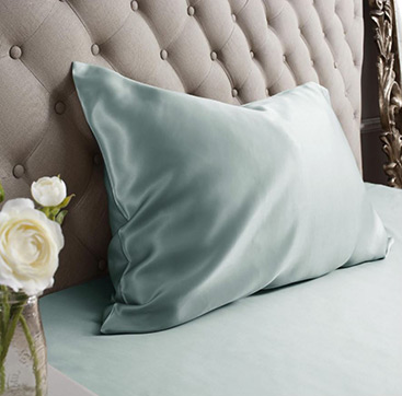 duck egg blue silk pillowcase
