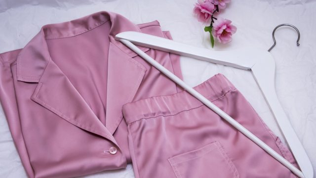 women's silk pink pajamas with hanger and flowers